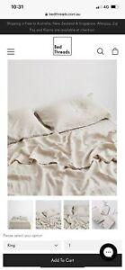 Bed Threads Oatmeal 100% Flax Linen Flat Sheet King Size (Brand New)