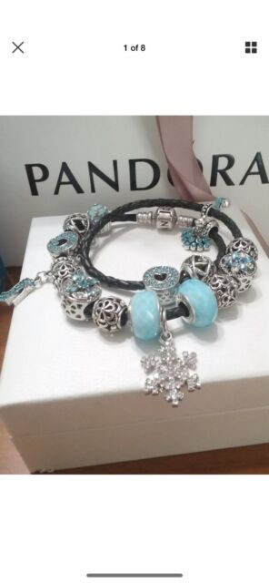 9a3cca79a Authentic pandora double black leather bracelet with silver charms ...