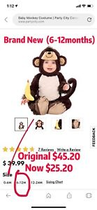 Brand New Monkey Halloween Costume For Baby