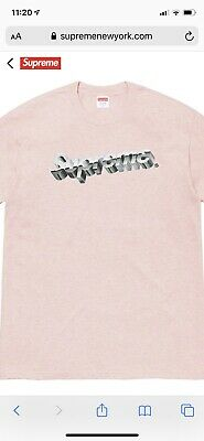 Supreme Chrome Logo T-shirt Heather Pink Mens Large Order Confirmed DS Logo Heathered T-shirt