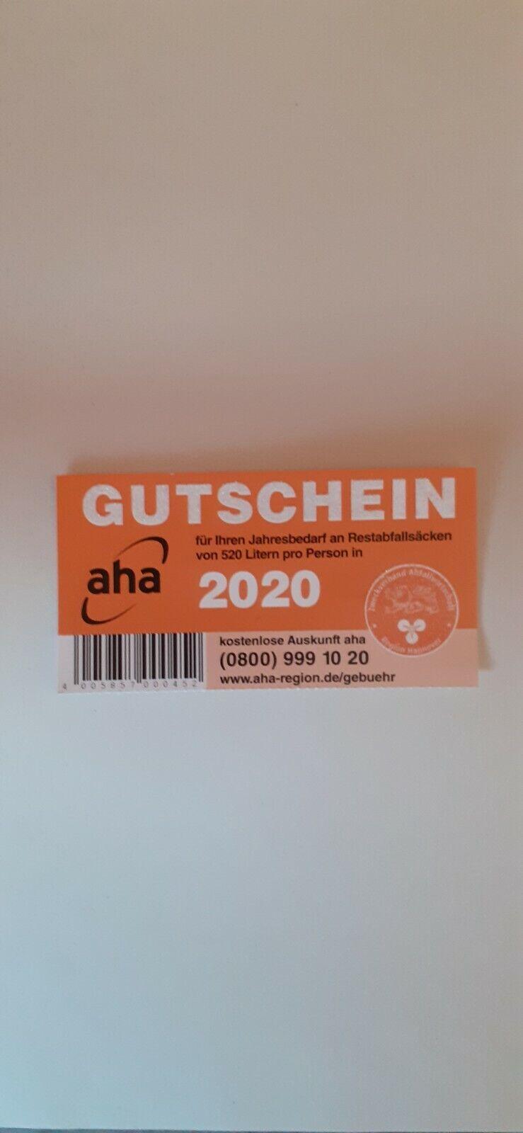 AHA Gutschein 2020 für 520 Liter,  Restmüllsäcke , Region Hannover