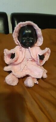 Rose bud 10 inch vintage black  baby doll