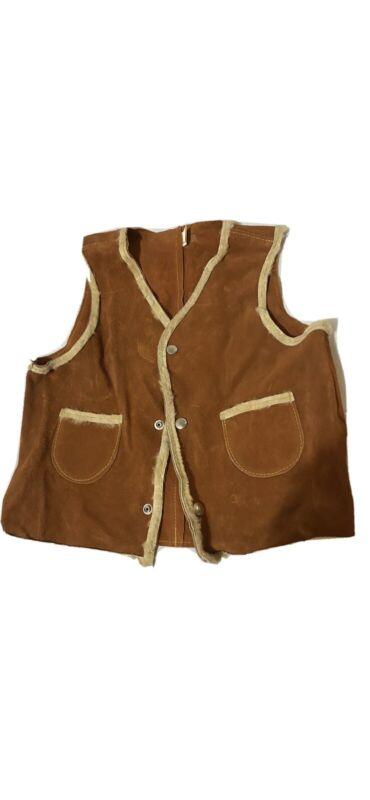 Vintage Rare Leather / Hide Sherpa Childs Cowboy Vest