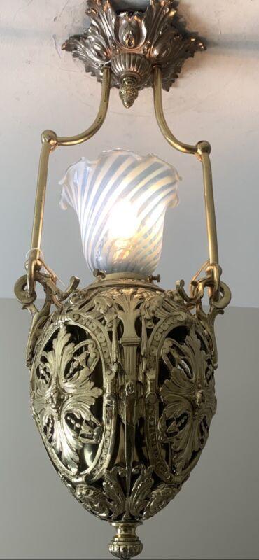 Beautiful Antique 19th Century Victorian Brass Hall Pendant Chandelier