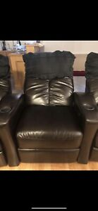 Leather recliner theater chaies