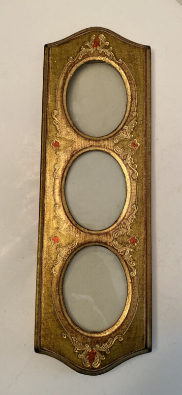 Vintage Picture Frame Florentia Italy Hand Carved Wood Gold