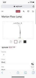EQ3 martian floor lamp in 'white mable' base color