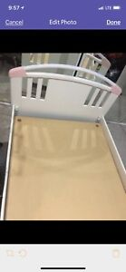 Children's twin size bed, white-pink, wood