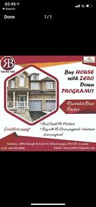 Buy any house in brampton in zero down program or rent to own !!