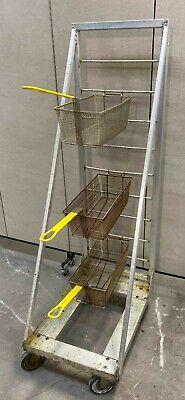 Stainless Steel Aluminum Portable Fryer Basket Rack Holder Cart Deep Fry