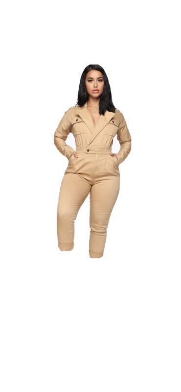 khaki jumpsuit FashionNova