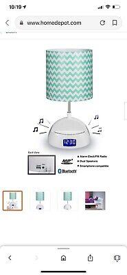 LighTunes Bluetooth Speaker Lamp w/Alarm Clock FM Radio USB Charging Port