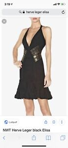 Herver Leger Bandage Dress Black W Gold Beading New With Tags