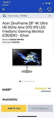 Acer 4K Ultra HD 60 Hz Gaming Monitor 28inch