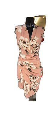 John Zack Bodycon Plunge dress In Pink Floral Size 8