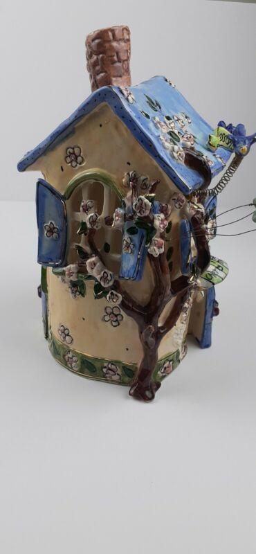 """Blue Sky Clayworks Heather Goldminc The Cherry Blossom INN 10"""" Tall 2002 ."""