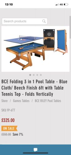 6ft Multi sports Table - Pool, Darts And Table Tennis Table