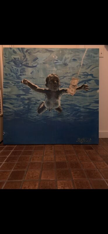 "Nirvana Baby Nirvana Nevermind Painting By Spencer Elden,Signed,44""X 44"" Canvas"