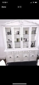 White washed display hutch