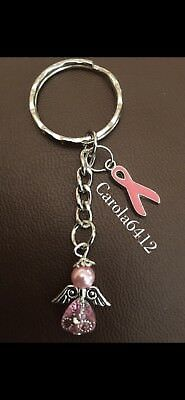 Lovely Pink Breast Cancer Awareness/Support & Guardian Angel Keyrings/Bag Charms