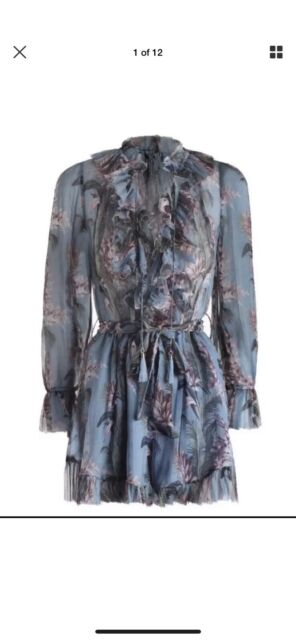 f52abe764c6 Zimmermann Winsome Ruffle Playsuit 0 100% silk 6 8 XS blue floral ...