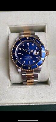 Rolex Submariner Champagne Men's Blue Bezel Watch - 16613