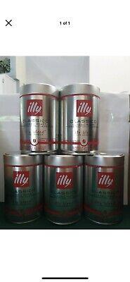 illy Classico Ground Espresso Medium Roast 100% Arabica Coffee Blend Can 5 Pack