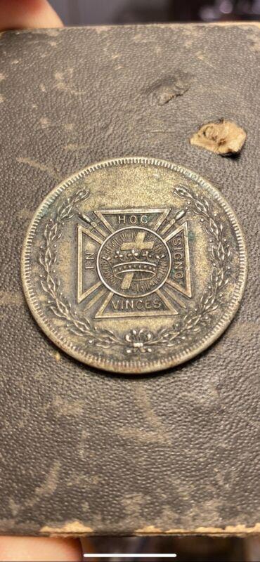 RARE IN HOC SIGNO VINCES Commandery  Knights Templar Masonic Silver Coin/token