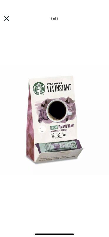 Starbucks VIA Instant Decaf Italian Roast Dark Roast Coffee 1 Box of 100 10/2020