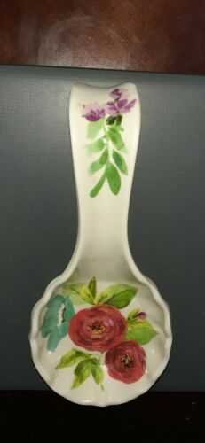 THE PIONEER SPOON REST BEAUTIFUL MELAMINE CHINA PURPLE RED & GREEN FLOWERS