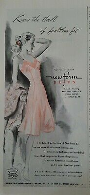 1945 womens Pink Newform slip Bur-mil rayon fabric vintage lingerie ad