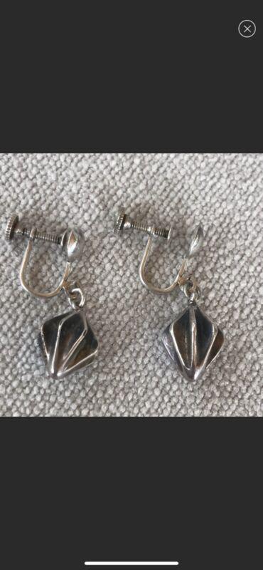 Sterling Mid Century Earrings Pearson? Drop Dangle Screw Back