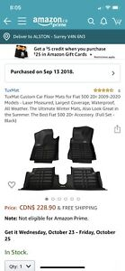 Tuxmat Floor liner - Fiat 500 - two front seats only