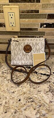 NEW MICHAEL KORS CROSSBODY HANDBAG PURSE - MK MONOGRAM, GOLD HARDWARE, WALLET