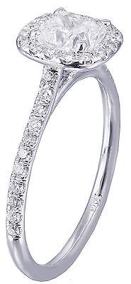 GIA H-SI1 14k White Gold Cushion Cut Diamond Engagement Ring Halo Deco 1.20ctw 6