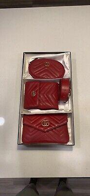 GUCCI GG Marmont Matelassé Triple Pouch Red Leather Belt Bag Set