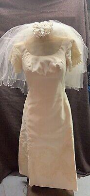 Vintage Wedding Dress Train And Veil Antique White Size S/M
