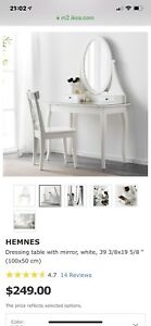IKEA HEMNES Dressing table with mirror and stool