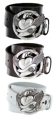 Flying Heart Made in Italy Silver Buckle with Genuine Leather Casual Belt Strap  - Flying Heart