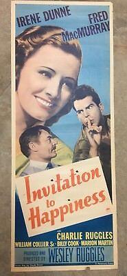 "Original Movie Insert Card* ""Invitation To Happiness"" 1939"