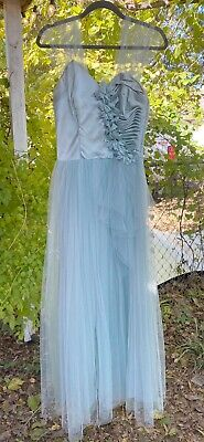 Vintage 40s 50s Old Hollywood Prom Queen Dress Ball Gown Seafoam Small 50s Prom Queen