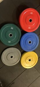 HCE Olympic 20kg 7ft black zinc bar and 150kg Olympic bumper plates