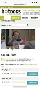 International Premiere of Ask Dr Ruth Documentary
