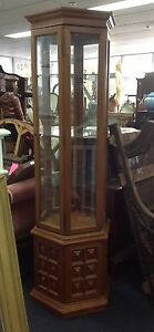 Glass and timber 6 sided display cabinet Ashmore Gold Coast City Preview