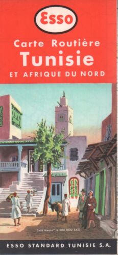 1954 Esso Road Map: Carte Routiere Tunisie NOS