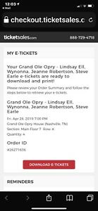 4 tickets for Grand Ole Opre in Nashville