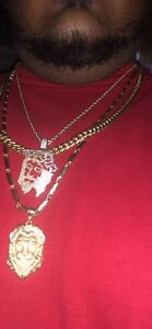10K gold Jesus head pendant and chain