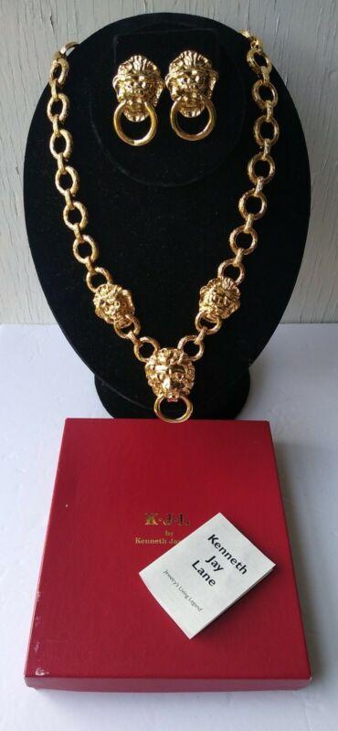 KJL Kenneth J Lane Golden Lion Door Knocker Necklace & Earrings Set SIMI VALLEY
