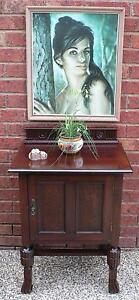 Retro Vintage Antique Bedside Table Hall Table Jacobean Style Mitcham Whitehorse Area Preview