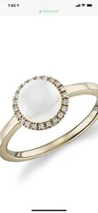14k Gold, Moonstone, and Diamond Ring from Blue Nile Size 6